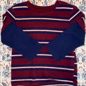 3T long sleeve striped red, blue and white T-shirt
